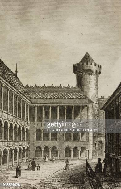 Interior of the Royal Castle of Krakow Poland engraving by Lemaitre and Dumouza from Pologne by Charles Foster L'Univers pittoresque Europe published...