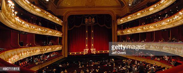 Interior of the Royal Opera House, London, . Stage stages box boxes theatres curtain curtains panorama panoramic