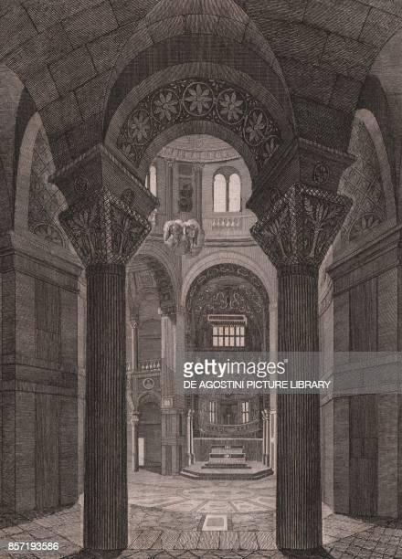 Interior of the San Vitale Basilica Ravenna EmiliaRomagna Italy steel engraving ca 13x18 cm from L'Italia la Sicilia le isole Eolie l'isola d'Elba la...