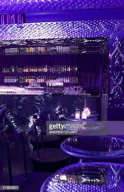 Interior of the Sanderson Hotel central London showing the bar for guests which is designed like a bordello 20 April 2000
