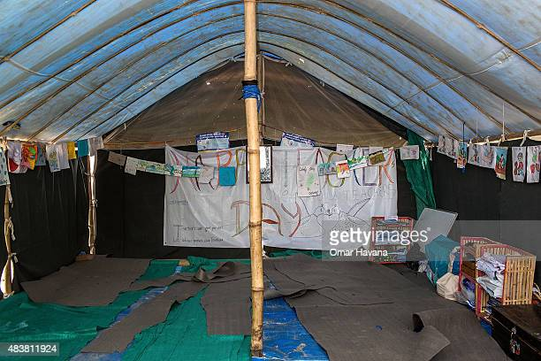 Interior of the school set up inside the Chuchepati displacement camp on August 13 2015 in Kathmandu Nepal About 7144 people hailing from different...