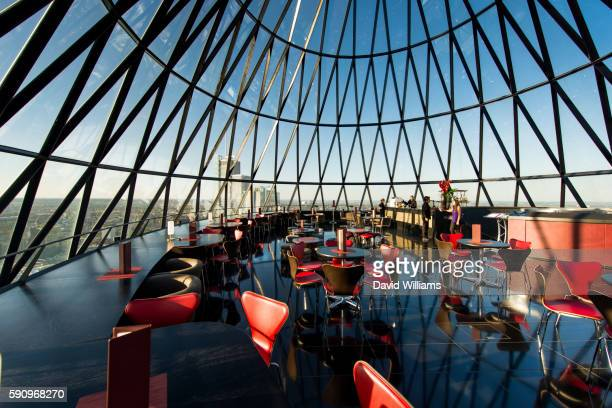 Interior of the Searcys restaurant and entertaining space at 30 St Mary Axe in London, otherwise known as The Gherkin, designed by architects Sir Norman Foster and Partners.