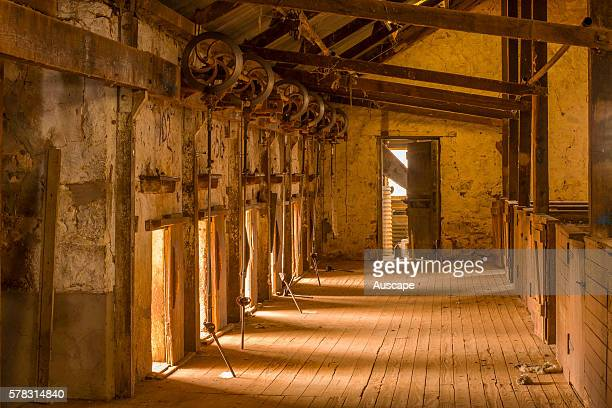 Interior of the shearing shed at Boolcoomatta Station now in a reserve run by Bush Heritage Australia Boolcoomatta Reserve Olary South Australia...