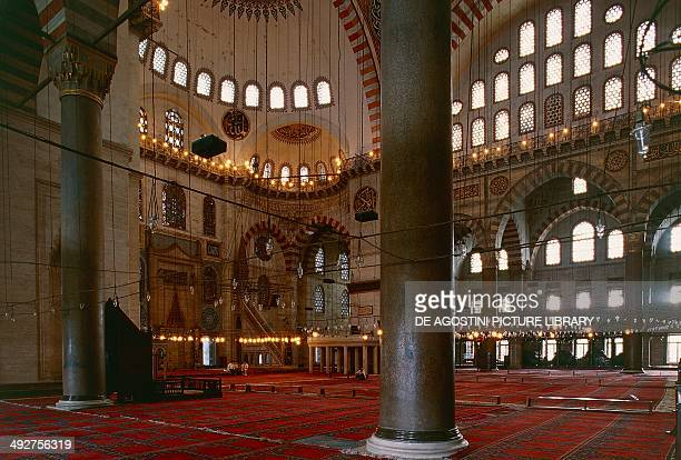 Interior of the Suleymaniye Mosque 15501557 historic centre of Istanbul Turkey