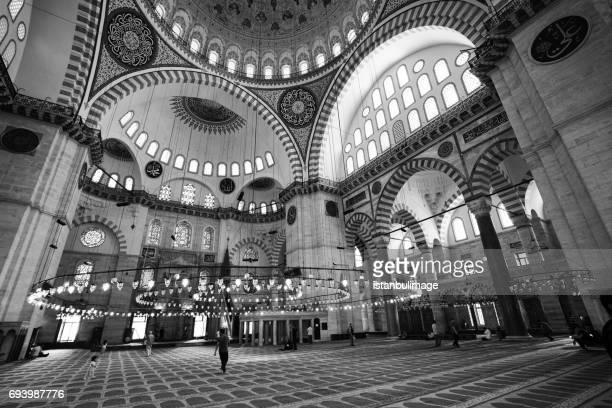 interior of the suleymaniye mosque - ottoman empire stock photos and pictures