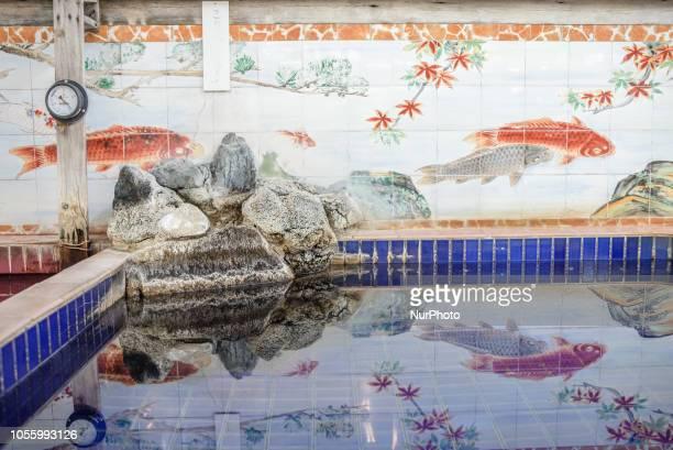 Interior of the Teikokuyu still operating classic Japanese style public bathhouse in business since 1916 Arakawaku district Tokyo Japan on October 31...