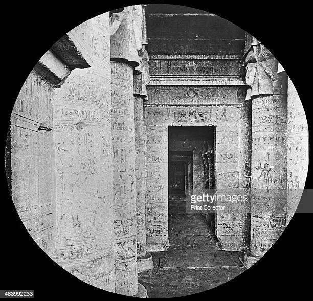 Interior of the Temple of Dendera Egypt c1890 The Temple of Hathor at Dendera was probably built in the 1st century BC in the late Ptolemaic period...