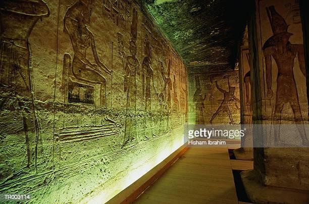interior of the temple of nefertari - wahrzeichen stock-fotos und bilder