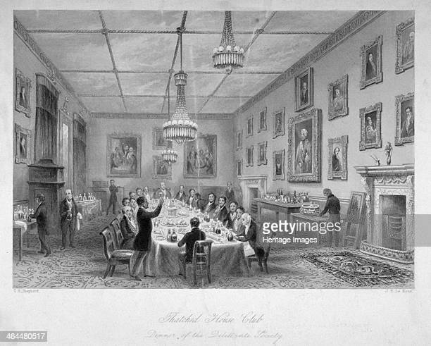 Interior of the Thatched House Tavern St James's Street London c1840 View showing a dinner meeting of the Dilettanti Society