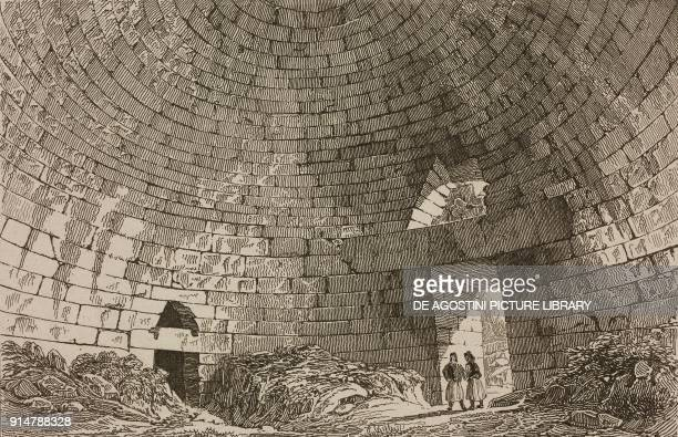 Interior of the Treasury of Atreus or Tomb of Agamemnon Mycenae Greece engraving by Lemaitre from Grece by Francois Pouqueville L'Univers pittoresque...