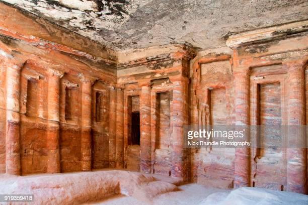 Interior of The Triclinium Tomb, Petra, Jordan.