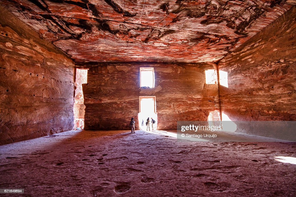 Interior of The Urn Tomb in Petra : Stock Photo