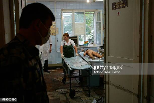 Interior of the Vladikavkaz morgue In the small town of Beslan which counts 35000 inhabitants mourning for the victims shows no signs of abating...