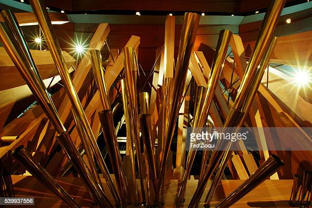 Interior of the Walt Disney Concert Hall auditorium with a closeup view of the pipe organ The organ is designed by Frank Gehry in collaboration with...