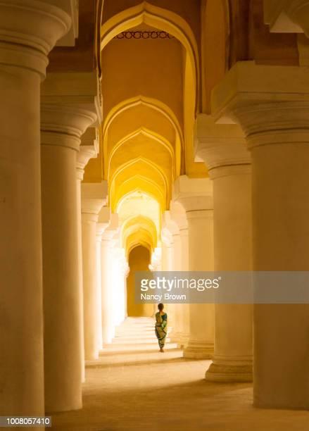 interior of thirumalai nayakkar palace in india. - sari stock pictures, royalty-free photos & images
