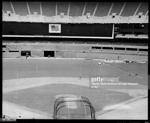 Interior of Three Rivers Stadium with baseball diamond, under construction, North Side, Pittsburgh, Pennsylvania, circa 1969.