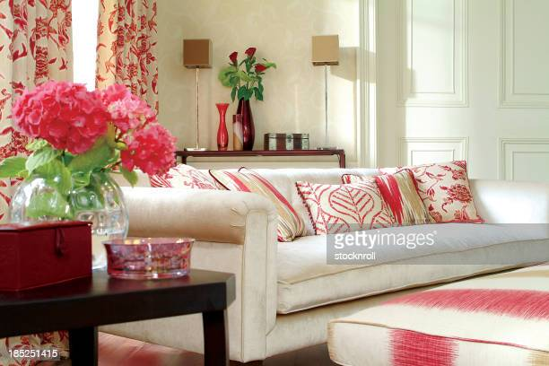Interior of three seater sofa in a living room