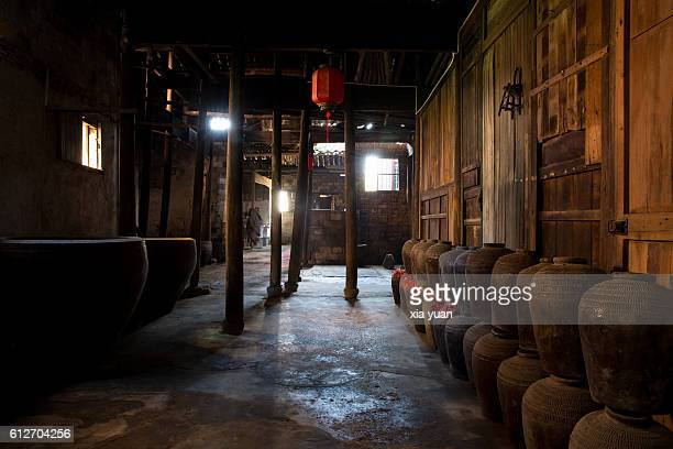 Interior Of Traditional Chinese Wine Workshop
