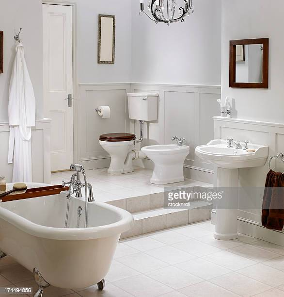 Interior of traditional white bathroom
