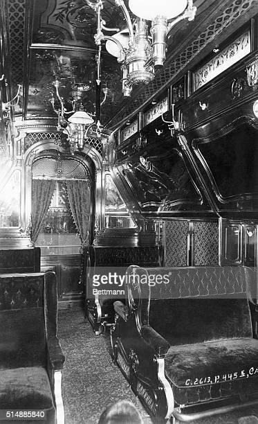 Interior of train car Santa Barbara built for Southern Pacific in 1887
