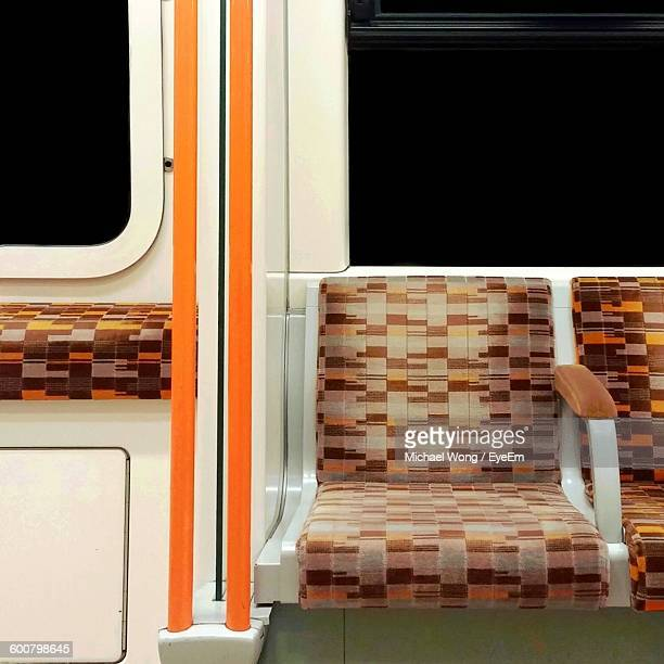 interior of train - vehicle seat stock pictures, royalty-free photos & images
