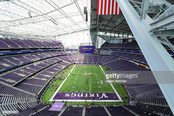 Interior of US Bank Stadium before the game pitting the Minnesota Vikings against the San Diego Chargers on August 28 2016 in Minneapolis Minnesota