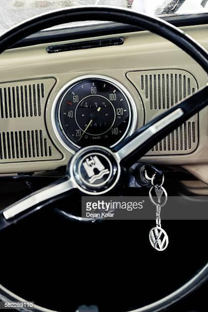 Interior of VW Beetle oldtimer fom 1970, detail