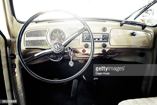 interior of vw beetle oldtimer fom 1970 - volkswagen beetle stock photos and pictures