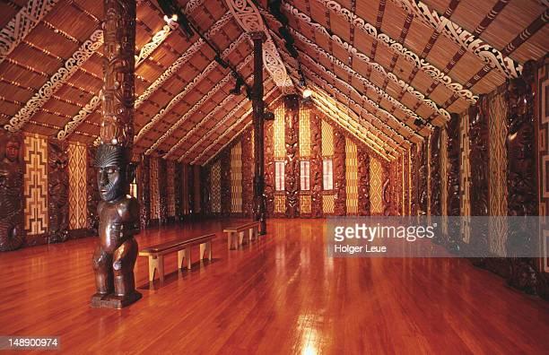 Interior of Waitangi Maori meeting house, Waitangi National Reserve.