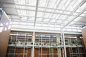 Interior of walkways and skylight in modern office building