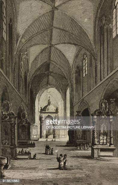 Interior of Wawel Cathedral Krakow Poland engraving by Lemaitre Dumouza and Durau from Pologne by Charles Foster L'Univers pittoresque Europe...