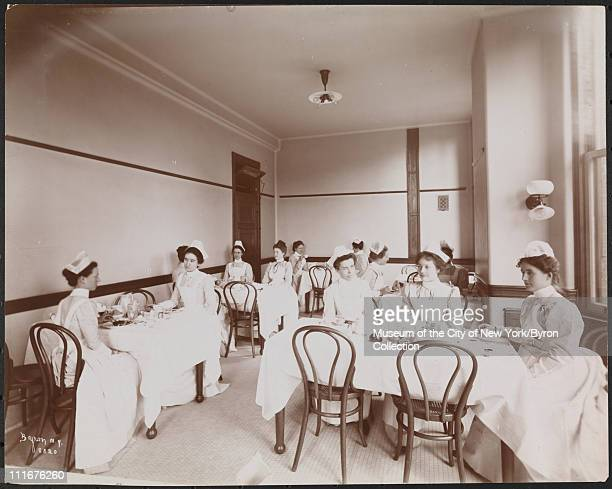 Interior of what appears to be the nurses' dining room at Roosevelt Hospital 59th Street and Columbus Avenue New York New York late 1890s