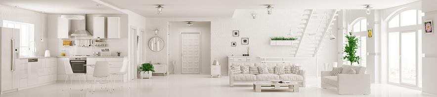 Interior of white apartment panorama 3d rendering 523166418