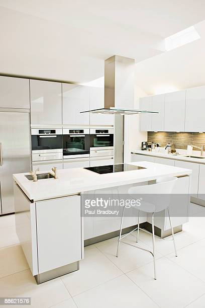 interior of white, modern kitchen - white goods stock pictures, royalty-free photos & images