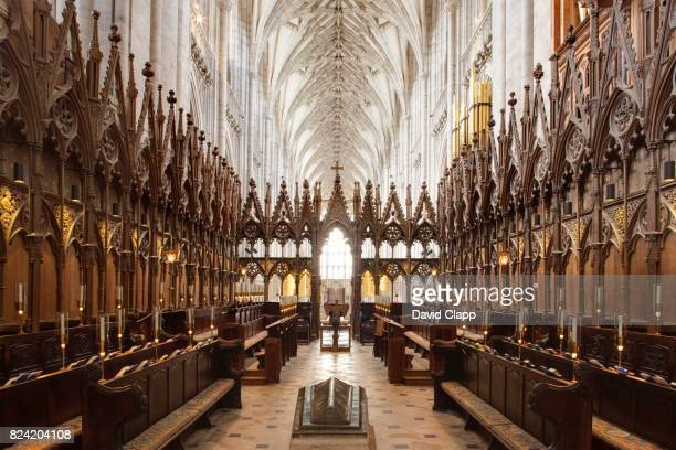 interior of winchester cathedral, hampshire - nave stock pictures, royalty-free photos & images