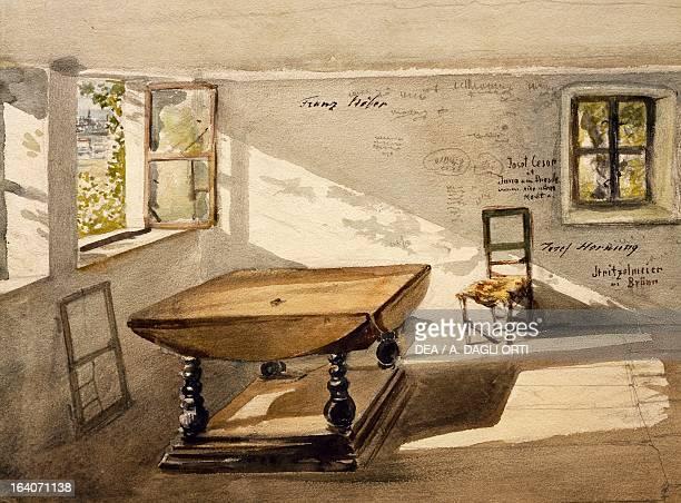 Interior of Wolfgang Amadeus Mozart's house in Kahlenberg Vienna Watercolour Vienna Historisches Museum Der Stadt Wien