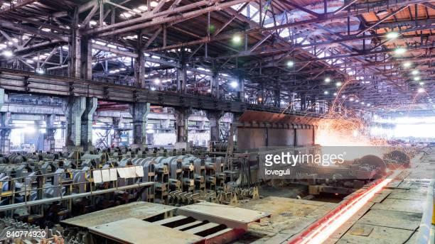 interior of workshop in steel factory