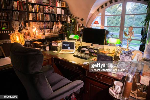 Interior of writer Maxime Chattam's office is photographed for Paris Match on October 9 2019 in Lamorlaye Le Lys France
