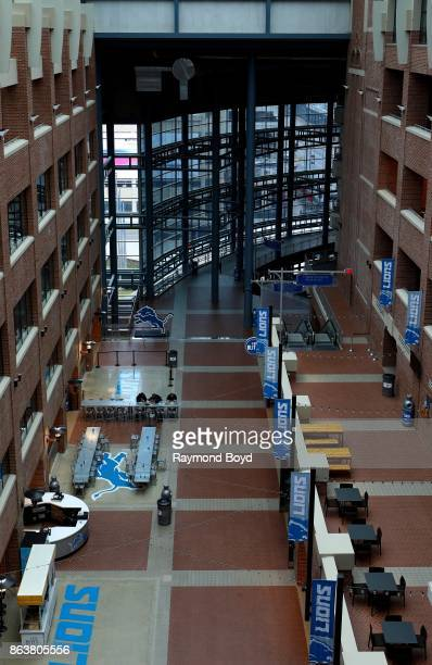 Interior offices and restaurants at Ford Field home of the Detroit Lions football team in Detroit Michigan on October 12 2017