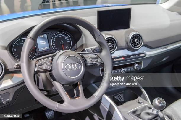 Interior on a Audi Q2 compact crossover SUV on display at Brussels Expo on January 13, 2017 in Brussels, Belgium. The Audi Q2 is the smallest of the...