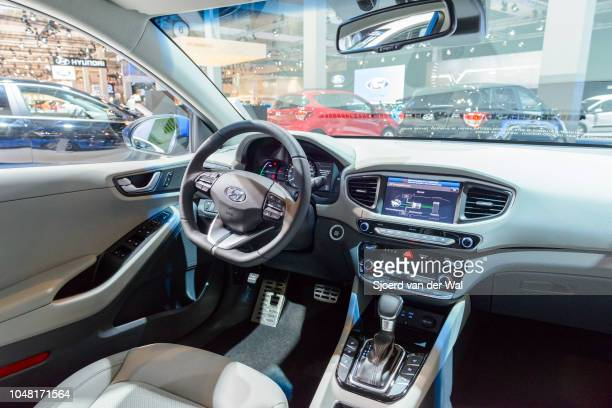 Interior on a Hyundai Ioniq hybrid electric fivedoor liftback car on display at Brussels Expo on January 13 2017 in Brussels Belgium The Hyundai...
