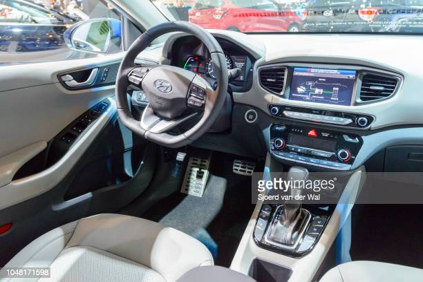 Interior on a Hyundai Ioniq hybrid electric five-door liftback car on display at Brussels Expo on January 13, 2017 in Brussels, Belgium. The Hyundai...