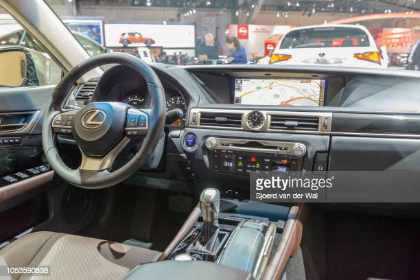 Interior on a Lexus GS 300h hybrid luxury sedan on display at Brussels Expo on January 13, 2017 in Brussels, Belgium. The GS 300h is fitted with a...