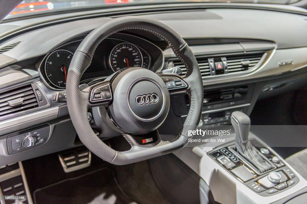 Interior on an Audi A6 Avant luxury executive station wagon with ...