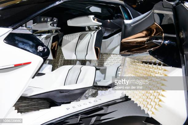 Interior on the Peugeot Fractal all-electric, compact 2+2 coupe concept car on display at Brussels Expo on January 13, 2017 in Brussels, Belgium. The...
