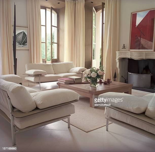 interior overview of a modern french castle living room - french culture stock pictures, royalty-free photos & images