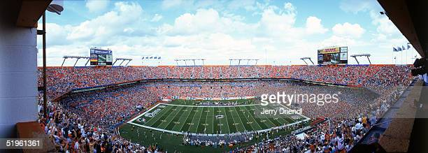 Interior panoramic view of DHL Pro Player Stadium from the upper level as the Miami Dolphins score a touchdown against the Buffalo Bills during a...