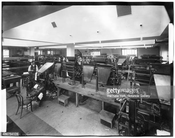 Interior press room showing machines New York Evening Post New York New York 1895