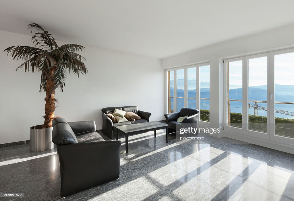 Interior Room With Black Leather Sofas Stock Photo - Getty ...