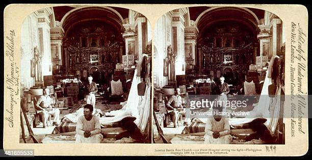 Interior Santa Ana Church, an American field hospital during the fight, in the Philippines. This campaign was part of the Spanish American war which...